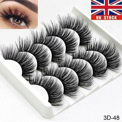 5Pair 3D Mink False Eyelashes Wispy Cross Long Thick Soft Fake Eye Lashes U