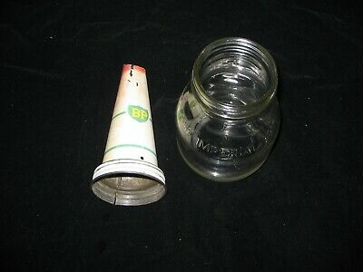 One Imperial Pint Oil Bottle And  Bp Tin Top Pourer