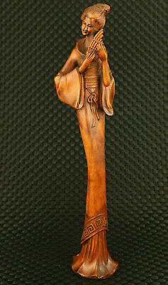 Antique Only one chinese boxwood hand carved belle musician statue collection