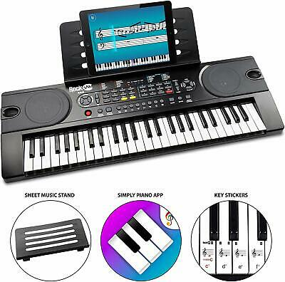 RockJam 49-Key Portable Digital Piano Keyboard with Music Stand, Power Supply