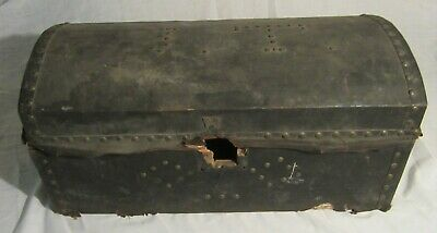 "ANTIQUE DOME TOP DOCUMENT CHEST -- 24"" x 11"" x 11"" -- Lined with 1829 Newspaper"
