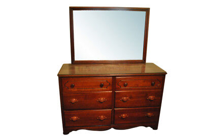 6 Drawer Solid Cherry Wood Dresser, Chest with Mirror 55″ Wide, PA4381