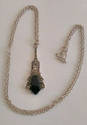 Ladies Vintage 925 Silver Art Deco Style Necklace With Black Onyx & Marcasite