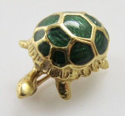 Vintage Cute Small 18K Yellow Gold Enamel Turtle Pin Brooch