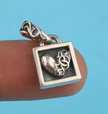 China 925 Silver Hand-Carved Heart-Shaped Statue Pendant Auspicious Collection