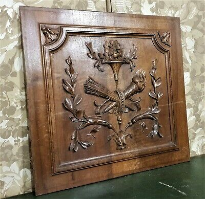 Quiver fire Louis XVI walnut carving panel Antique french architectural salvage