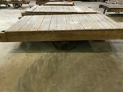 Large Vintage industrial factory warehouse railroad cart.
