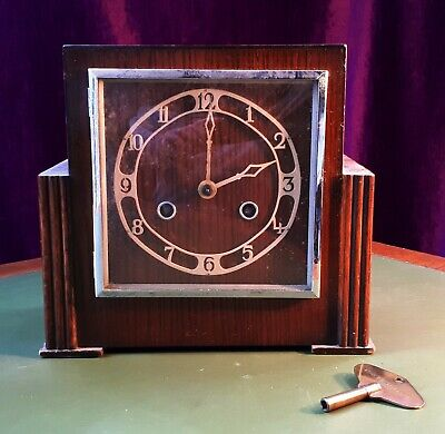 1930s Art Deco British Made Wooden Mantel Clock. Not Working/ For Repair/ Prop