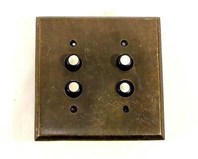 Antique Reproduction Light Switch Double Mother Of Pearl Buttons Brass Plate