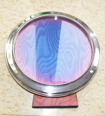 Large Round Antique Victorian Solid Silver Picture Photograph Frame w Easel Back