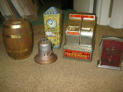 Lot of 5 Collectible Coin Banks