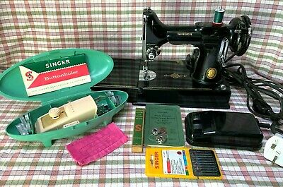 Singer 221K Featherweight Sewing Machine with Singer 489500 Buttonholer