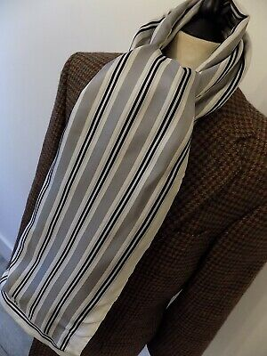 VINTAGE mens GOLF BLACK/GREY STRIPED SILK & BLACK WOOL BACKED SCARF 12 x 60""