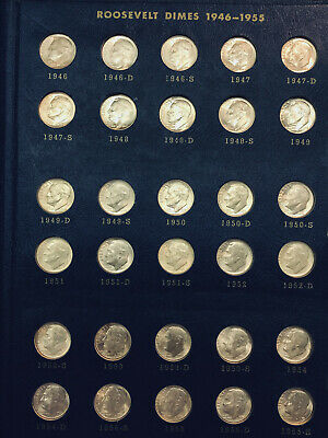 Complete 48 Coin Set 1946-1964 Roosevelt Silver Dimes Uncirculated in album