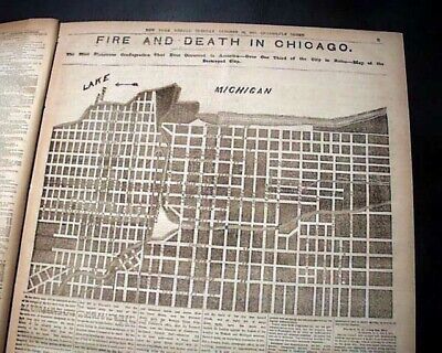 The GREAT CHICAGO FIRE Burning Conflagration Disaster w/ Map 1871 Old Newspaper