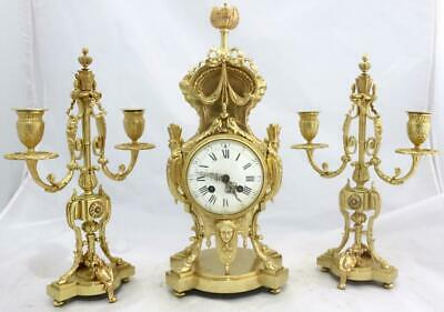 Stunning French Antique Oriental Gilt Pierced Bronze Mantle Clock Garniture Set