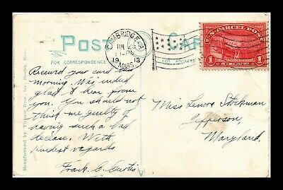 Dr Jim Stamps Us Parcel Post Postcard Flag Cancel Cambridge Massachusetts 1913