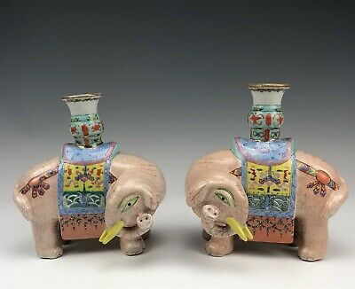 Pr Chinese Export Hand Painted Porcelain Shelf Mantle Elephant Candleholders NR