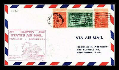 Dr Jim Stamps Us Pawtucket Rhode Island Am 27 First Flight Air Mail Cover Boston
