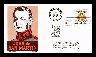 Dr Jim Stamps Us Champion Of Liberty San Martin Fdc Cover Scott 1126 Ken Boll