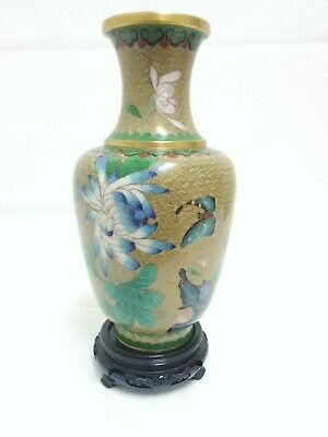 """Beautiful Old Chinese Cloisonne Vase On Copper  9"""""""