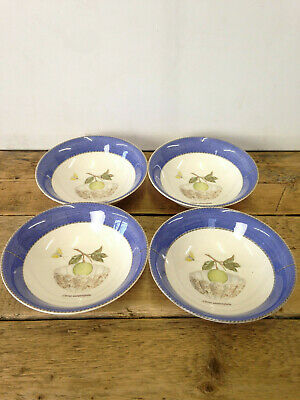 Set Of 4 Wedgwood Sarah's Garden Blue Cereal Bowls Good Condition