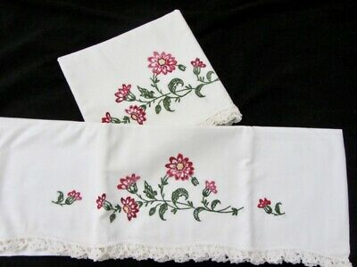 Pair VTG Hand Made Embroidered Pillow Cases Thick Lace Trim Condition Unused!