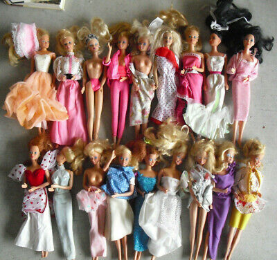 Lot of 18 Vintage to Modern Barbie and Friends in Clothes Dolls