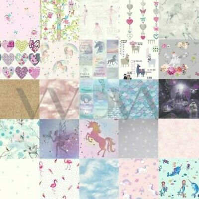 Girls Glitter Effect Wallpaper Fairies Hearts Horse Animals Wall Decor New