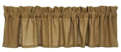 "farmhouse country primitive rustic Tan Deluxe BURLAP VALANCE curtain 16"" x 90"""