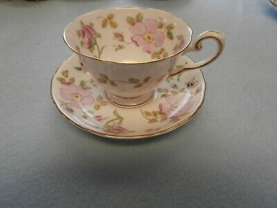 Vtg Pink Dogwood Tuscan Fine English Bone China Hand Painted Tea Cup & Saucer