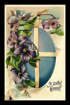 Dr Jim Stamps Us Joyful Easter Egg Flowers Embossed Topical Postcard
