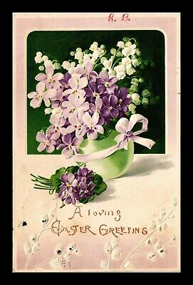 Dr Jim Stamps Us Loving Easter Greetings Flowers Embossed Topical Postcard
