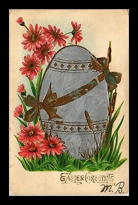 Dr Jim Stamps Us Easter Greetings Embossed Egg Flowers Topical Postcard