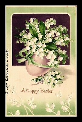 Dr Jim Stamps Us Happy Easter Flowers Egg Topical Embossed Greetings Postcard