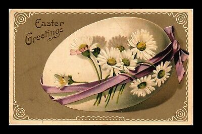 Dr Jim Stamps Flowers Egg Easter Greetings Embossed Topical Postcard