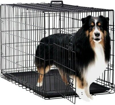 """Extra Large 48"""" Folding Pet Dog Cat Crate Cage Kennel with Plastic Tray Black"""