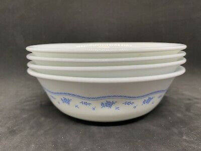 """4 CORELLE MORNING BLUE 6 1//4/"""" COUPE CEREAL BOWLS VERY NICE"""
