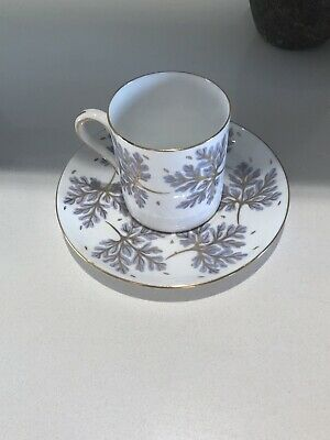 RARE VINTAGE SHELLEY Bone China,ENGLAND,Demitasse cup & saucer.Periwinkle & gold
