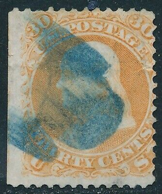 Dr Jim Stamps Us Scott 71 30C Franklin Used Blue Cancel No Reserve Free Shipping