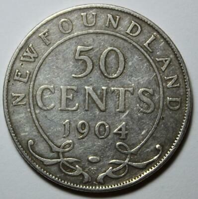 Newfoundland 1904H Silver 50 Cents, Old Date King Edward VII