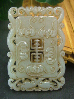 Antique Chinese Celadon Nephrite Hetain OLD-Jade WU-FU  Pendant/Statues