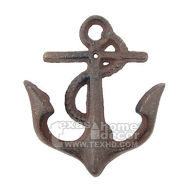 Anchor Rope Key Hook Towel Coat Hanger Rustic Cast Iron Nautical Antique Style