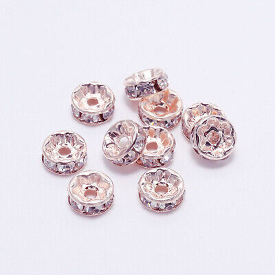 50pcs Rose Gold Rhinestone Rondelles Crystal Loose Spacer Beads Jewelry Making