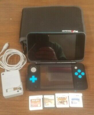 Nintendo 2DS XL Handheld System Bundle 5 games Charger, Very Fast Shipping Case