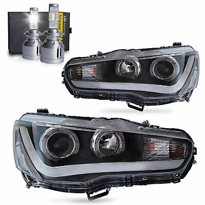 LED Headlights w/DRL Single Beam+H7 LED Bulbs for 2008-2017 Mitsubishi Lancer