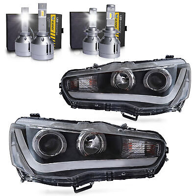 LED Headlights w/DRL Single Beam+H1&H7 LED Bulbs for 2008-2017 Mitsubishi Lancer