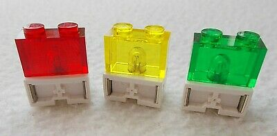 3 x Vintage LEGO Technic 9v Electric Light Bricks Red Yellow Green for Train etc