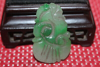Antique Chinese Hand carved aristocratic wearing Jadeite jade pendant