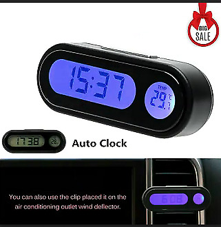 Car Clock with Blue Backlight Auto LCD Thermometer Time Clock Calendar ht55